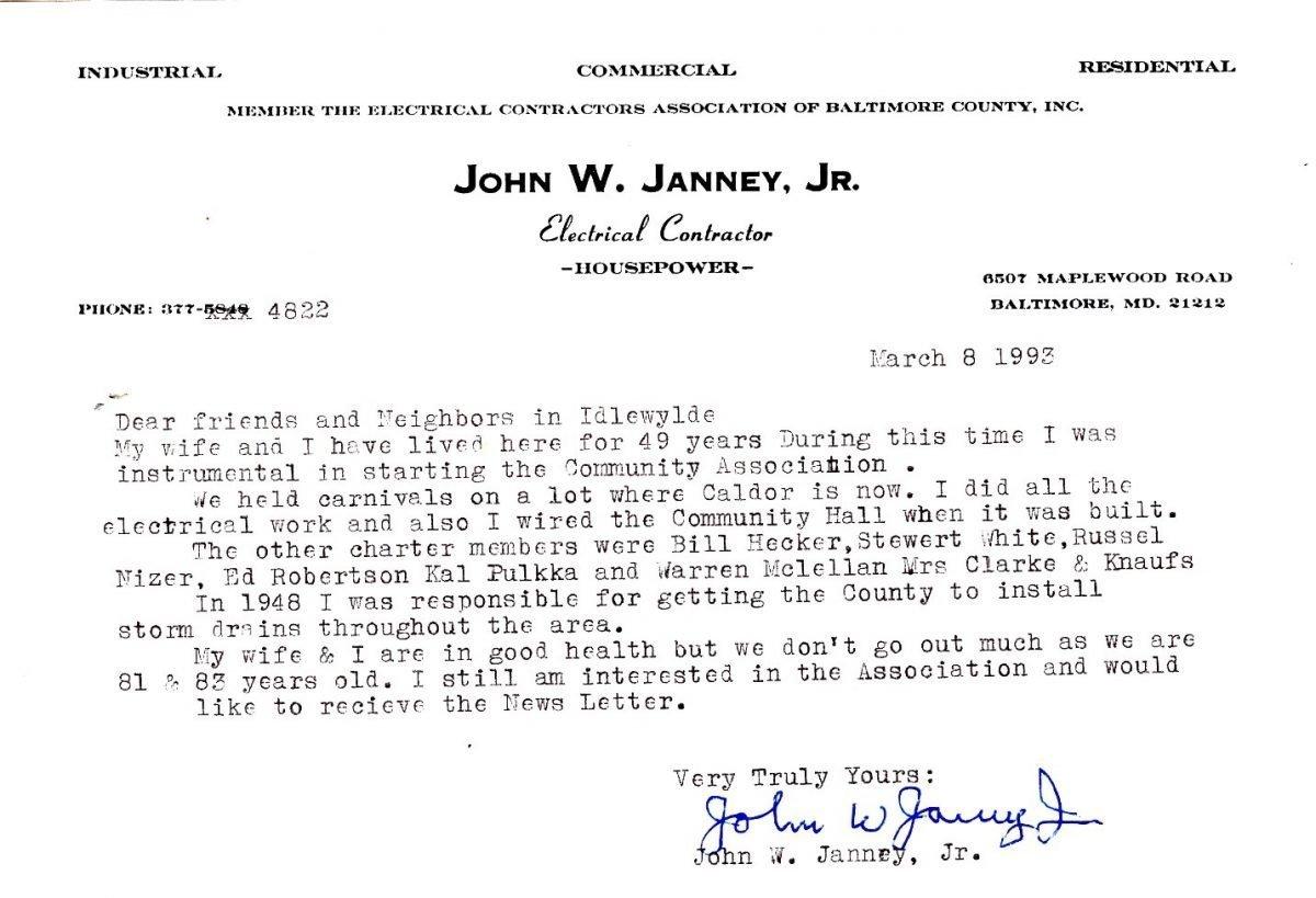 John Janney's letter, 1992